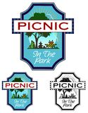 Picnic In The Park. Emblem with copy space, for a picnic or park event. Includes non gradient an black only versions Stock Photo