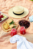 Picnic at the park on the grass: tablecloth, basket, healthy food and accessories. Stock Images