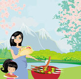 Picnic in a park. Illustration Stock Photo