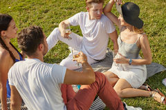 Picnic in the park. Picnic party friendly young people on the grass in the park in personal interaction Royalty Free Stock Photography
