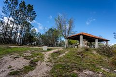 Picnic park by the side of the road in the mountains.Taken in Peneda-Geres National Park, Portugal stock images