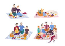 Picnic in park, vector illustration set. Couple, friends, family, outdoors. people recreation scene in flat style. Royalty Free Stock Photography