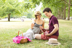 Picnic in the park. Young couple in the park enjoying a picnic Royalty Free Stock Photo