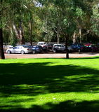 Picnic Parking. Photograph taken of parked cars near a picnic lawn at Gumeracha (Adelaide Hills, South Australia stock photos