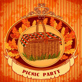 Picnic party in meadow with picnic basket and autumn leaves, grass. Retro invitation,card, print, postcard, poster. Stock Photos