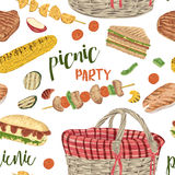 Picnic party. Seamless pattern with food and basket. Royalty Free Stock Image