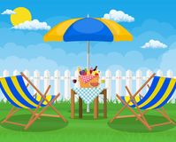 Picnic party. Sun lounger,. Picnic party. Sun lounger and umbrella. Vector illustration flat style Royalty Free Stock Photo