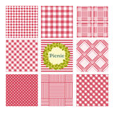 Picnic patterns. Set of seamless checkered patterns. Vector concept background Picnic Royalty Free Stock Image