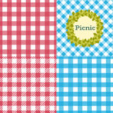 Picnic patterns. Set of seamless checkered patterns. Vector concept background Picnic Stock Photography