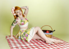 Picnic Pinup Model Royalty Free Stock Images