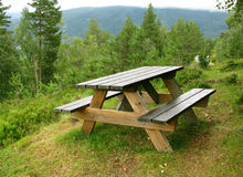 Picnic place. In Norwegian forest Royalty Free Stock Photos