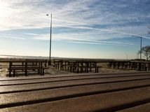 Picnic place at the Brighton beach on a sunny day Royalty Free Stock Image