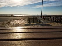 Picnic place at the Brighton beach on a sunny day Stock Photo