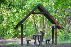 Picnic place in forest Stock Photos