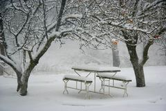 Picnic place in winter. View of picnic place in winter Stock Photo