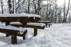 Picnic place in wintertime Stock Photo
