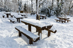 Picnic place in wintertime Royalty Free Stock Photography