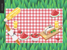 Picnic plaid and snack on green grass Stock Image