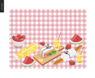 Picnic plaid and snack. Template - vector cartoon flat illustration of snack and drink for picnic on a checkered pink picnic plaid Stock Photo