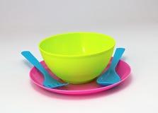 Picnic plastic. Colorful plastic tableware set for picnic Stock Image