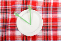 Picnic. plate on the tablecloth.  Royalty Free Stock Image