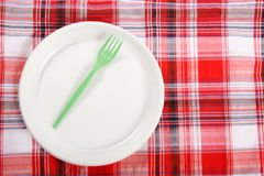 Picnic. plate on the tablecloth Stock Photography