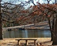 Picnic at pond Stock Photo
