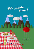 Picnic poster. Flat picnic poster/ eco tourism stock illustration