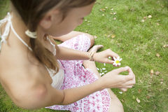 Picnic Pulling Petals from Behind. Overhead view of teenage girl pulling petals off a daisy flower Stock Photo
