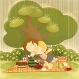 Picnic in the rain. Children style illustration with a couple of cute lovers having a picnic not caring of the bad weather vector illustration