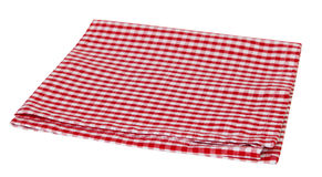Picnic red cloth napkin isolated. Red picnic cloth checkered towel isolated.Decorative cotton kitchen gingham napkin Royalty Free Stock Photography