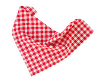 Picnic red clothes folded isolated. Red checkered picnic clothes isolated.Decorative cotton napkin Stock Image