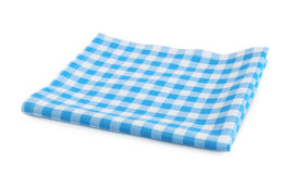 Picnic red clothes folded isolated. Red checkered picnic clothes isolated.Decorative cotton napkin Stock Images