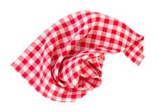 Picnic red clothes folded isolated. Red checkered picnic clothes isolated.Decorative cotton napkin Stock Photos