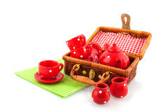 Picnic with red crockery Royalty Free Stock Images