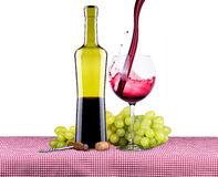 Picnic with red wine and grapes Royalty Free Stock Image
