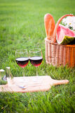 Picnic with red wine on the grass. Picnic basket with red wine on the grass Stock Image