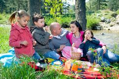 Picnic by the river Stock Images