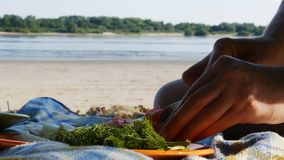 Picnic on a river beach - cutting tomato for salad - 4k stock footage