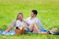 Picnic - Romantic couple in sunny meadows Stock Photos