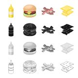 Picnic, sandwich, burger, and other web icon in cartoon style.Bottle, packaging, mustard icons in set collection. Stock Photography