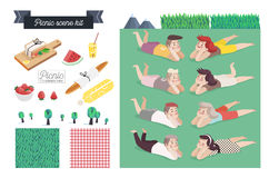 Picnic scene kit. A collection of vector cartoon elements for picnic scene creating. Few couples - young man and woman laying together on grass, checkered vector illustration