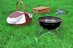 Picnic Scene With Two Basket And BBQ Grill Appliance Stock Image