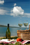 Picnic by the Sea. Picnic spread near water Royalty Free Stock Photo