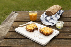 Picnic with self-baked wholemeal-wheat-spelt-bread and carrot spread Stock Image