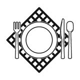 Picnic served table icon in black style isolated on white background. Picnic symbol stock vector illustration. Royalty Free Stock Image