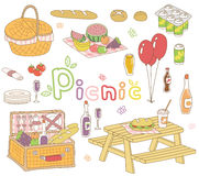 Picnic set. An illustration set of picnic goods royalty free illustration