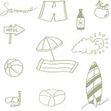 Picnic set beach doodle Stock Photography