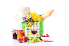 Picnic set with fruit bread and wine. Royalty Free Stock Photo