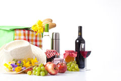 Picnic set with fruit bread and wine. Royalty Free Stock Image